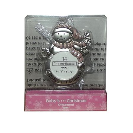 2.5 Inch Snowman Bell Ornament - Treasured Memories Baby's 1st Christmas Snowman Picture Tree Ornament, 3 X 2.5 inches, (Girl)