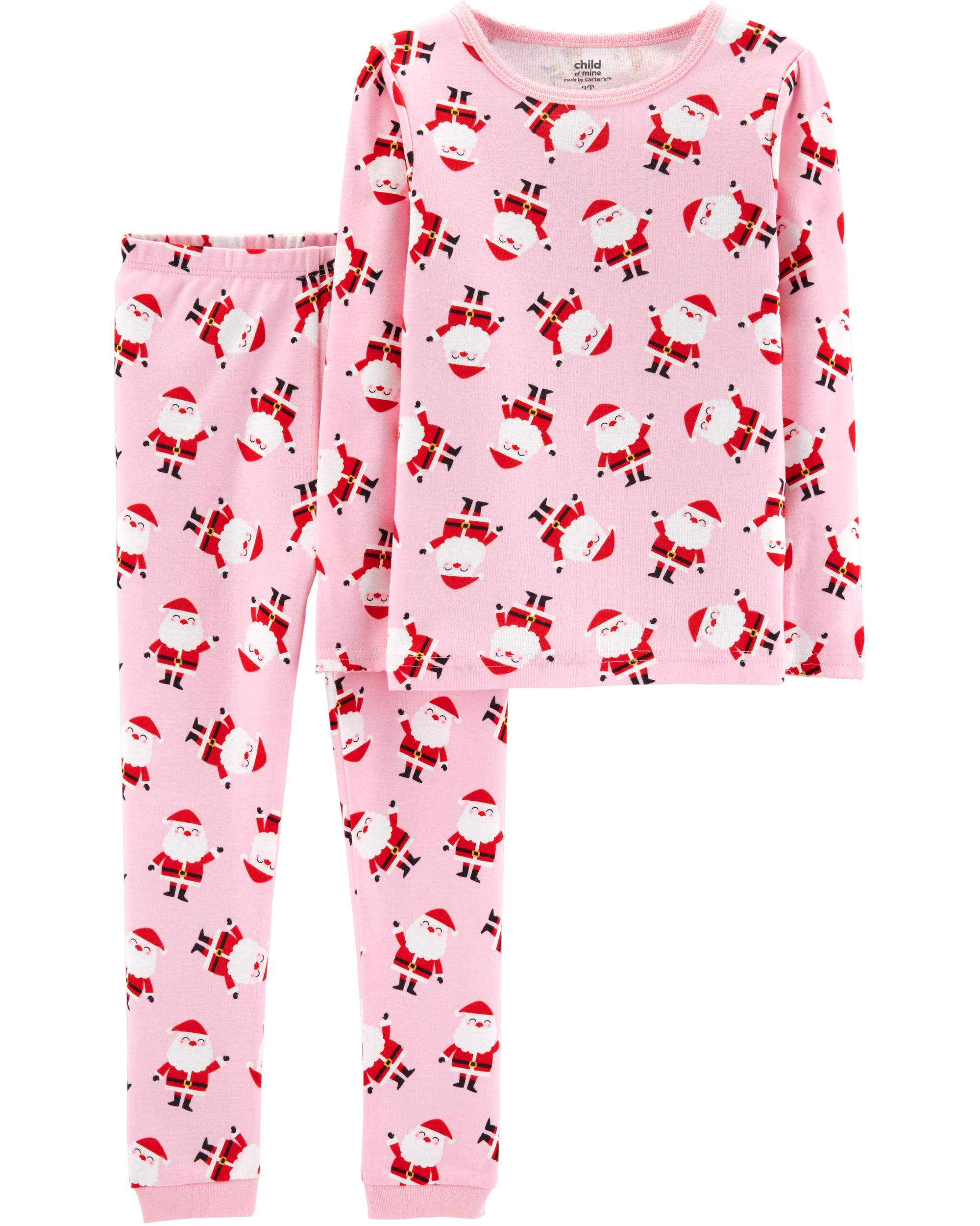 Holiday Long Sleeve Cotton Tight Fit Pajamas, 2-piece Set (Baby Girls & Toddler Girls)