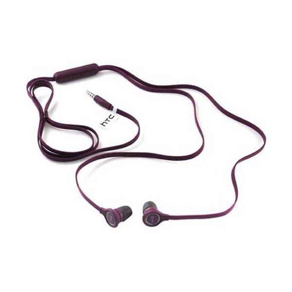 HTC Original Tangle Free Headphones 3.5mm Audio Hands-Free Headset - Purple