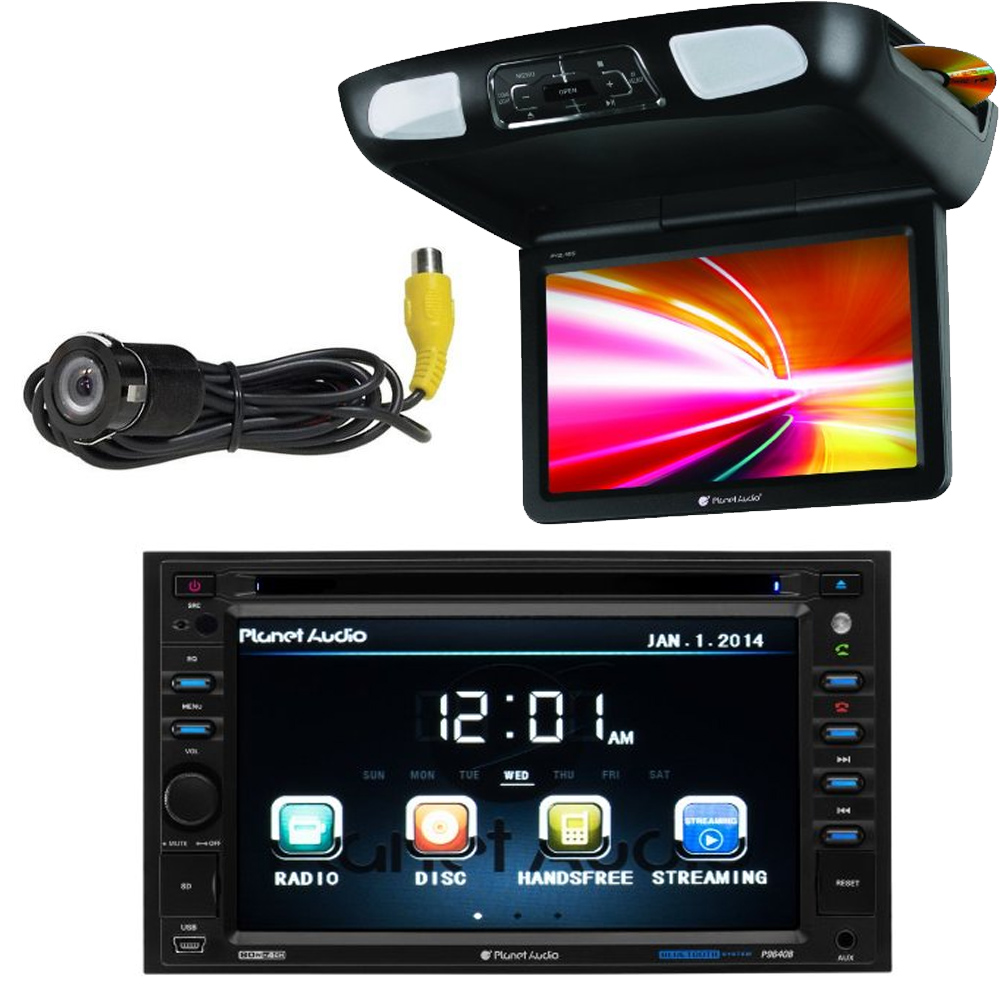 "Planet Audio Video package P9640B 6.2"" Touchscreen DVD Player + back up camera + P10.1ES 10.1"" Overhead DVD player"