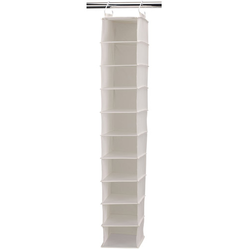 Household Essentials Natural Blended Canvas 10-Pocket Wide Hanging Organizer with Plastic Shelves