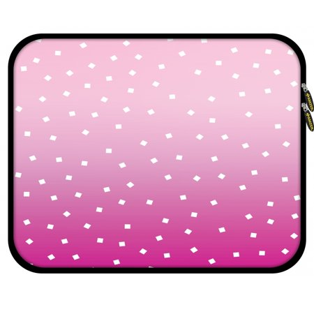 (11.25 Inch High Quality Designer Neoprene Sleeve for Notebook, Chromebook, MacBook 2017, Fire HD 10, Tablet, iPad with 5 Pcs Screen Cleaning Kit and Headset Organizer - Pink Bits)