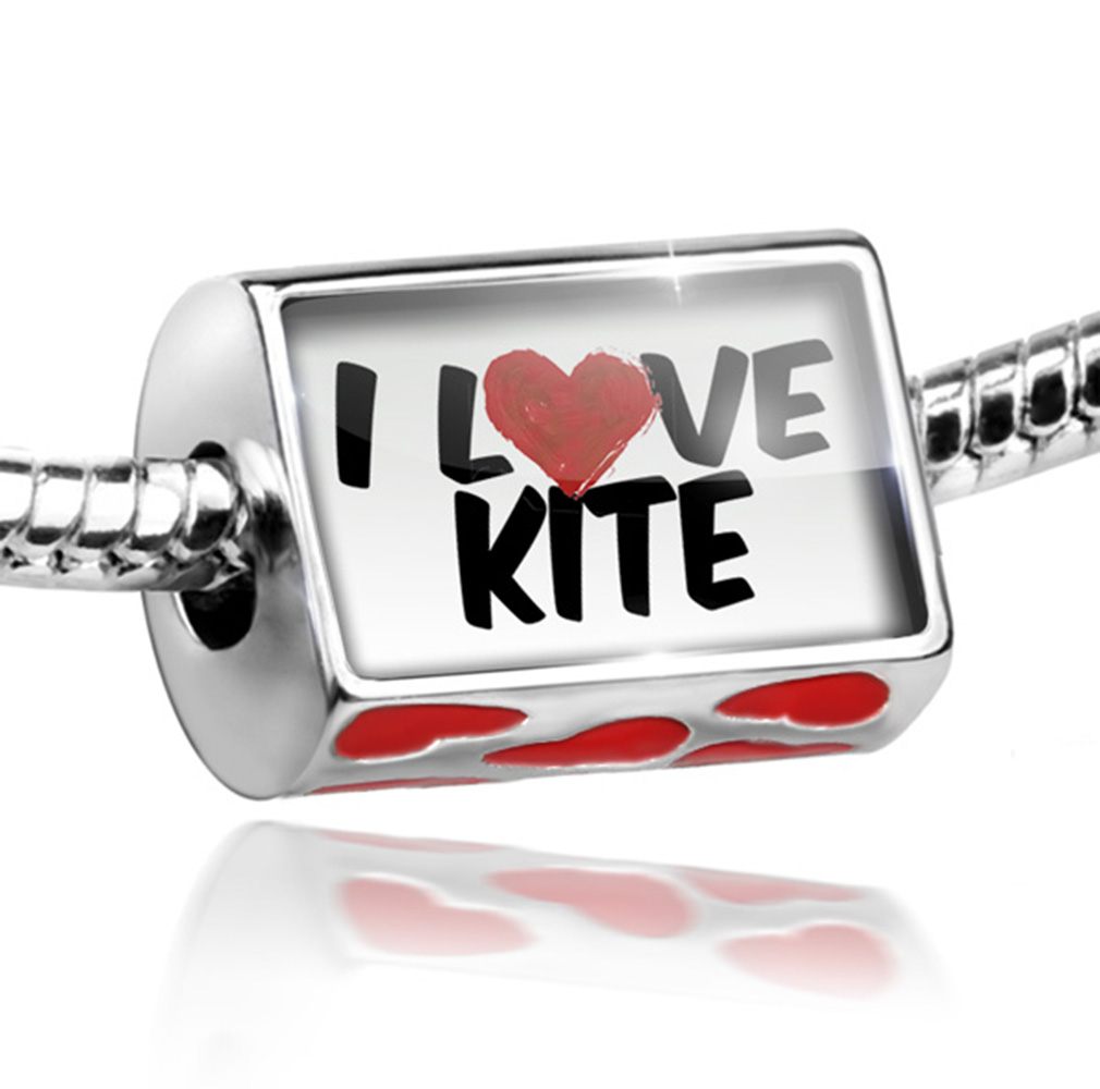 Bead I Love Kite Charm Fits All European Bracelets
