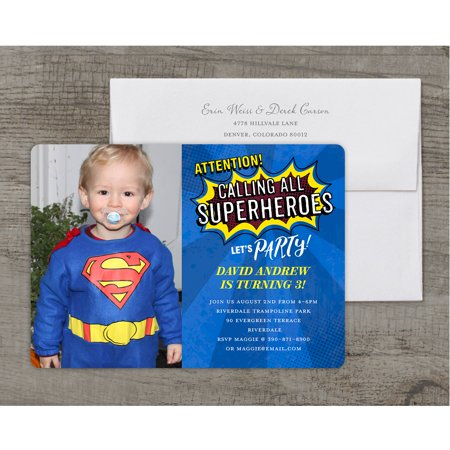 Superhero Party Deluxe Birthday Young Boy Invitation
