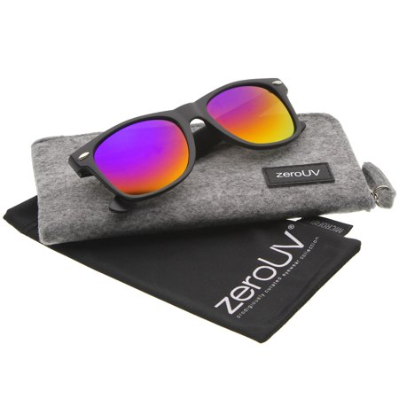 zeroUV - Matte Finish Color Mirror Lens Large Square Horn Rimmed Sunglasses - 55mm Full metal abstract panto shaped aviator sunglasses that feature a unique extended brow bar, colorful mirrored lenses and styled with flat lenses that are designed for less curvature of the frame.