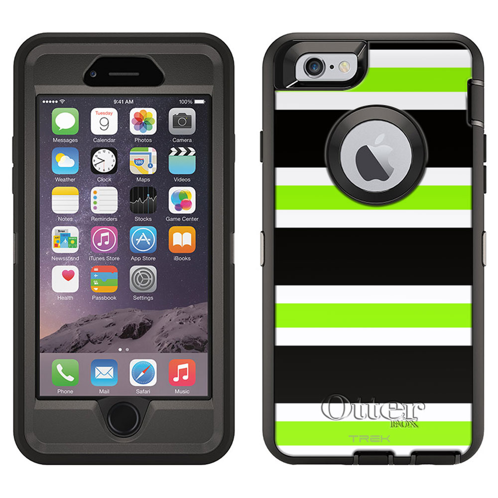 OtterBox Defender Apple iPhone 6 Plus Case - Preppy Stripes Green Black White OtterBox Case