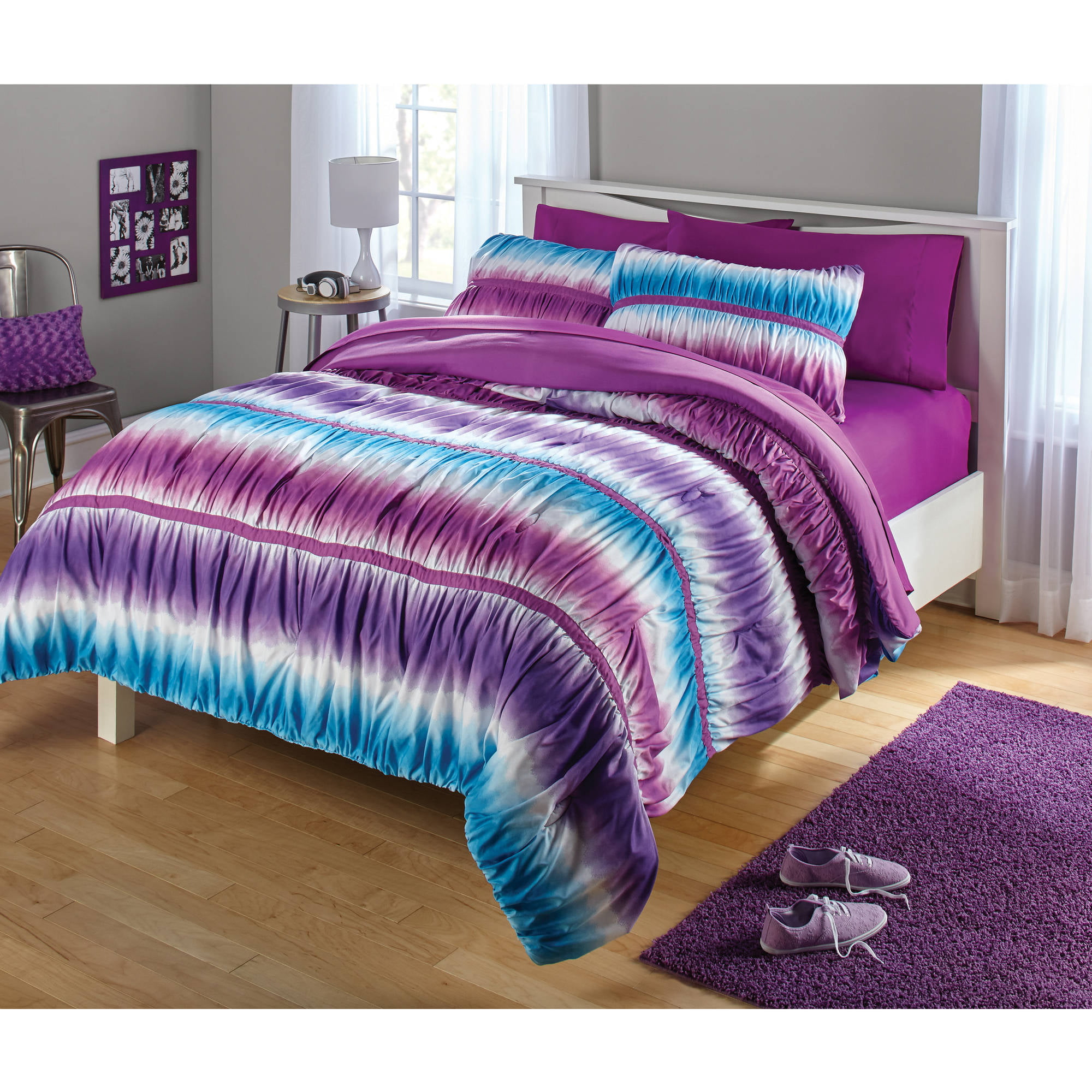 Purple bedding for teenage girls - Your Zone Ruched Tie Dye Comforter Set
