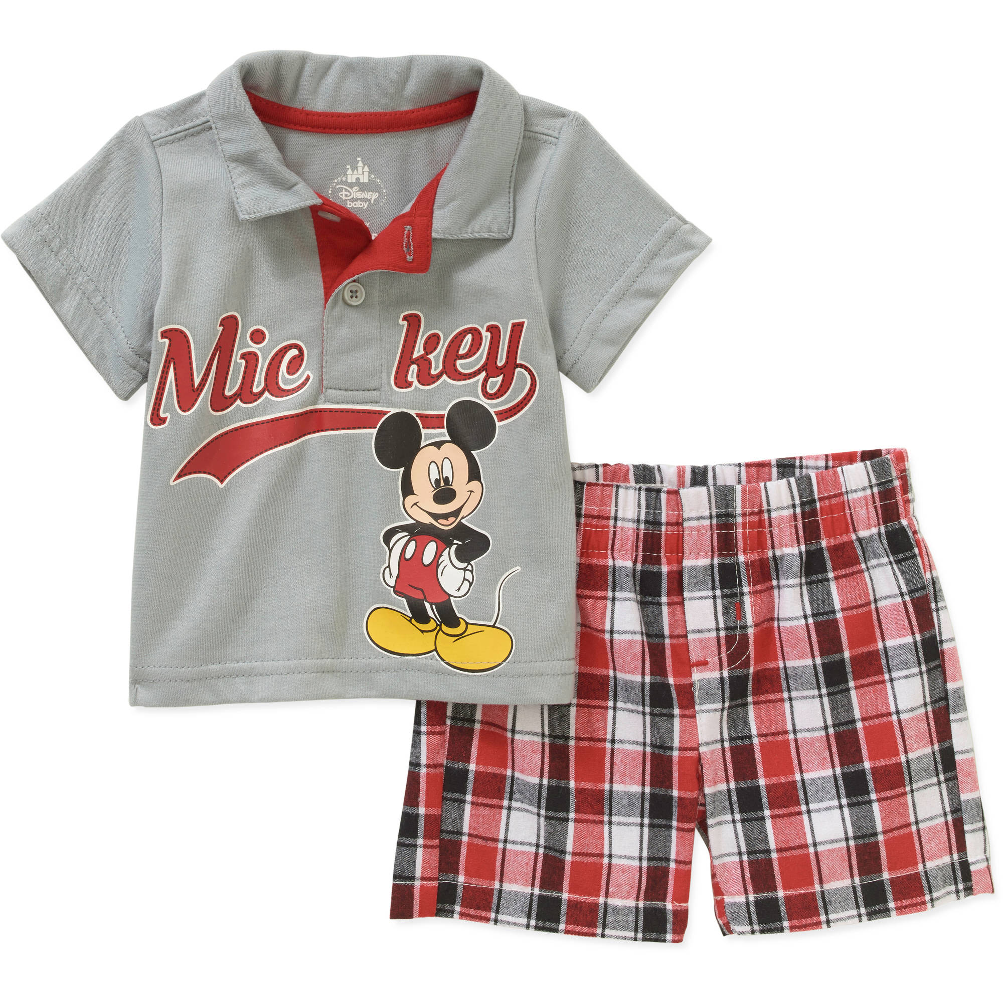 Mickey Mouse Newborn Baby Boys' License Knit Polo and Woven Plaid Short 2 Piece Set