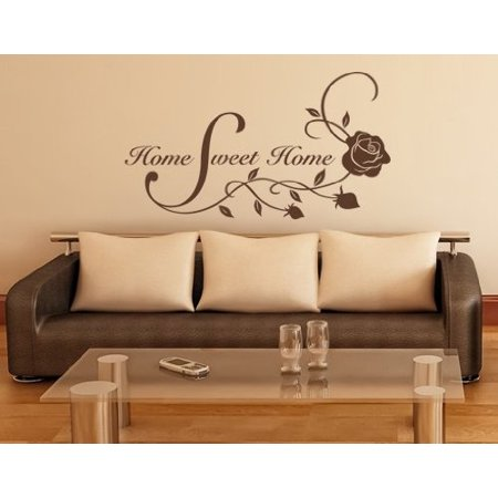 Home Sweet Home Floral Quote with Roses Wall Decal Wall Sticker Vinyl
