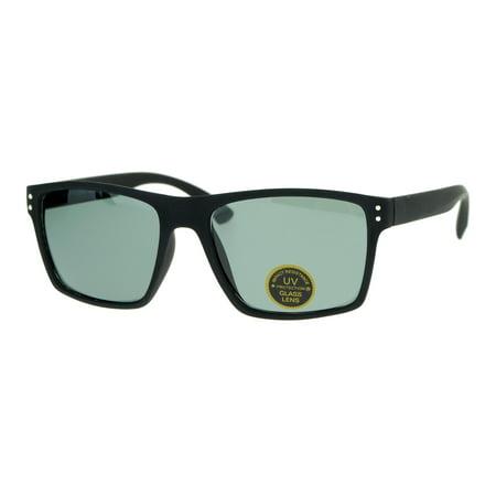 SA106 Temper Glass Lens Oversize Matte Black Thin Plastic Horn Rim Mens (Rim Horn Glasses)