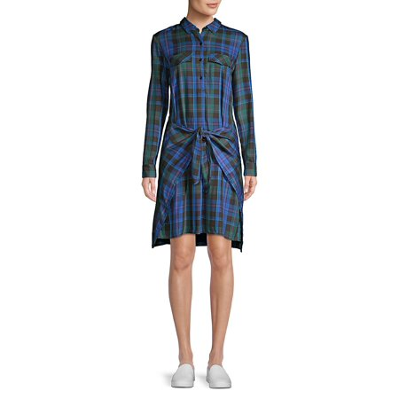 Plaid Long-Sleeve Dress - Lord And Taylor Dresses Clearance