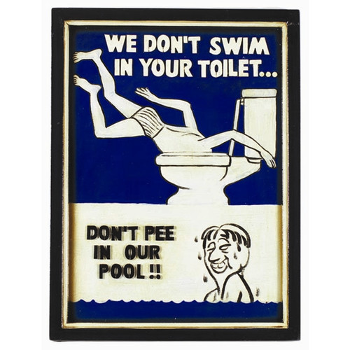 RAM Game Room Swim in Toilet Framed Vintage Advertisement