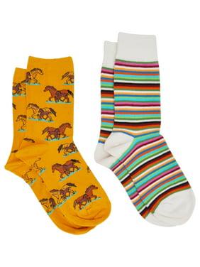 360 Threads Horses & Stripes Socks Size 9-11 (2-PAIRS) (Women's)
