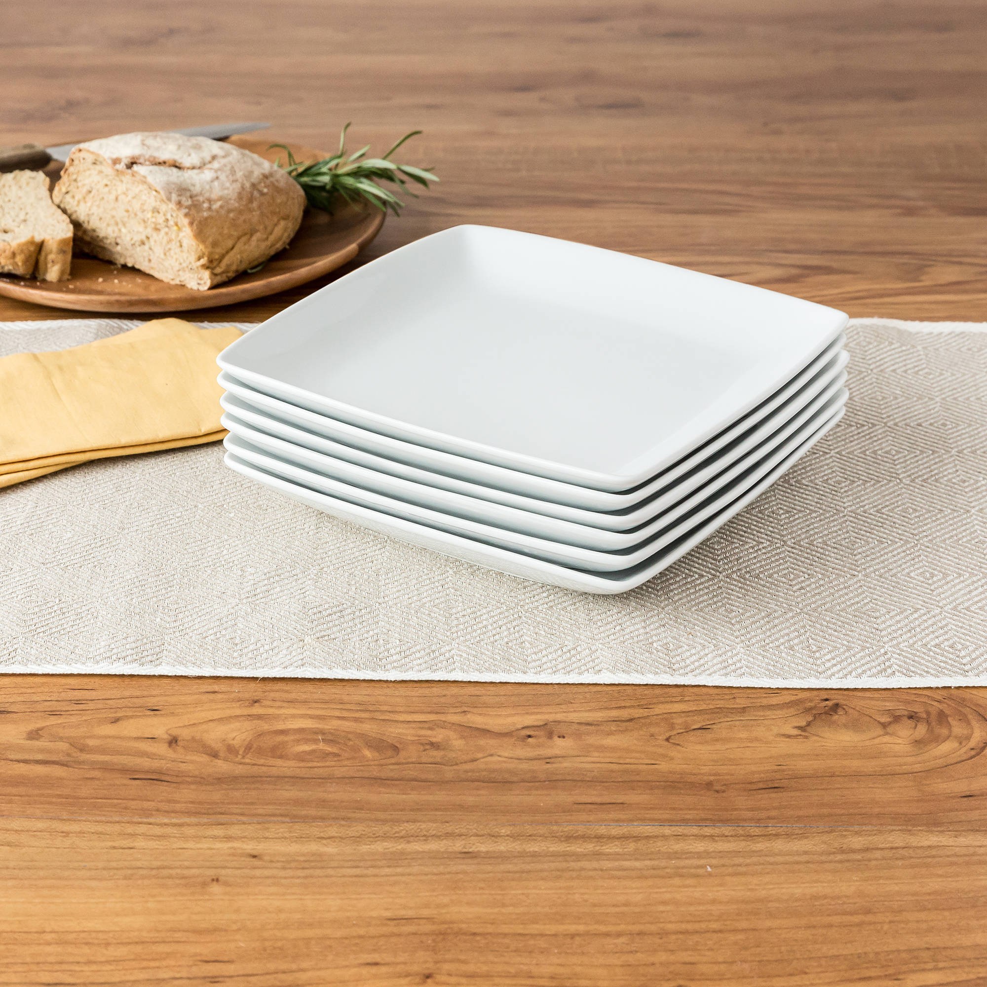 Better Homes and Gardens Porcelain Coupe Square Salad Plates, Set 6