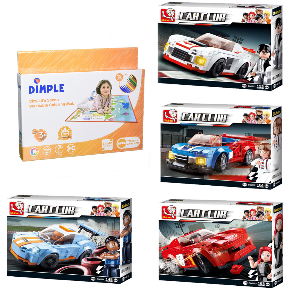 Leopard Building Blocks Building Toy 643 Pcs /& Dimple Kids Small Washable Coloring Play Mat with 12 Washable Markers Butterfly Sluban Kids Car Club Knight Bird