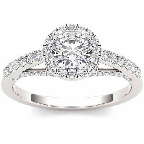 Imperial 3/4 Carat T.W. Diamond Single Halo 14kt White Gold Engagement Ring