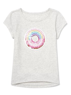 dcac8663 Product Image Rainbow Donut Reversible Flip Sequing Graphic High-Low T-Shirt  (Little Girls &