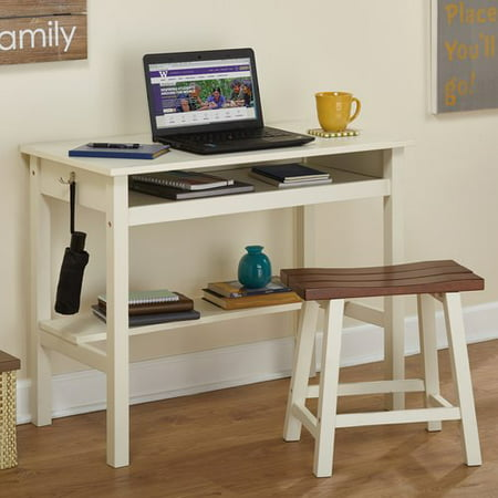 Madison Writing Desk and Saddle Stool Value Bundle, Off White and Oak