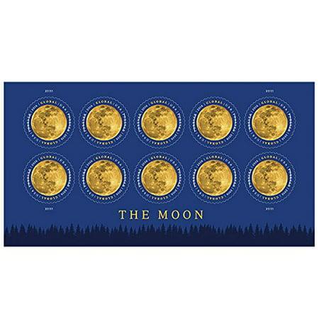 10 Postage (The Moon Global Sheet of 10 USPS International Forever Postage Stamps Lunar Satellite )