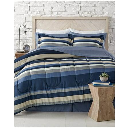 Blue White Khaki Gray Boys Nautical Stripe Cal King Comforter Set