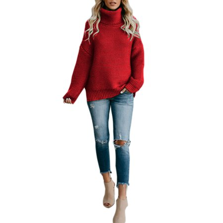 Knitted Sweaters for Women High Neck Chunky Knit Pullover Jumper Baggy Turtleneck Tops Winter Warm Loose Knitting (Best Women's Turtleneck Sweaters)