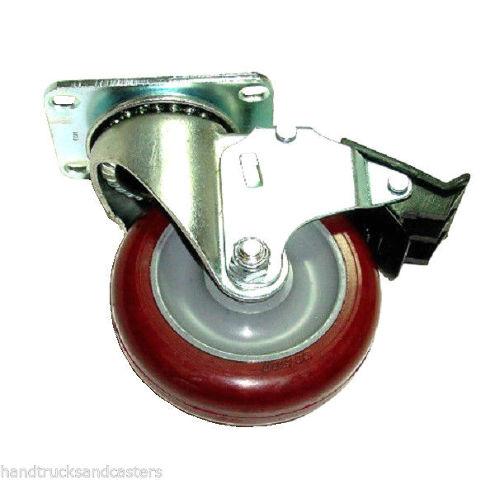 "Colson Swivel Plate Caster w/ Polyurethane 4"" x 1-1/4"" Wheel & Total Lock Brake"