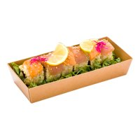 "Matsuri Vision Rectangle Kraft Paper Large Sushi Container - 7"" x 2 3/4"" x 1 1/2"" - 100 count box"