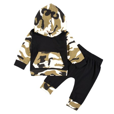 Kacakid Autumn Spring Infant Baby Camouflage Clothes Hoodie Tops + Long Pants 2Pcs Outfits Clothing Set
