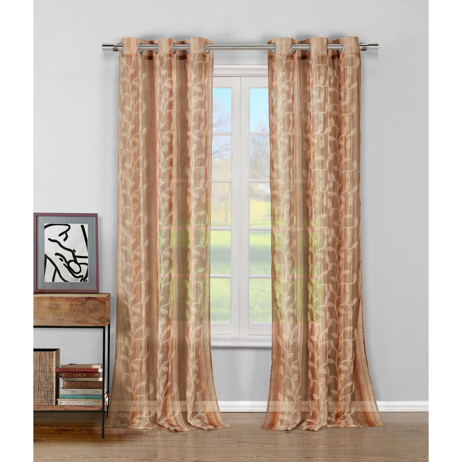 Sarian Braid Emb Faux Linen Grommet Pair Panel