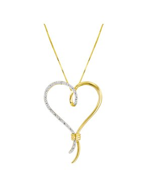 Brilliance Fine Jewelry 14kt Yellow Gold over Sterling Silver 1/10 Carat T.W. Diamond Over-Sized Heart Pendant, 18""