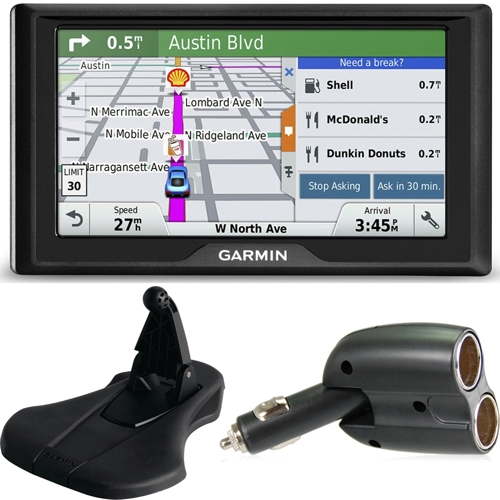 Garmin Drive 50LM GPS Navigator Lifetime Maps (US) 010-01532-0C Mount + Charger Bundle includes GPS, Friction Dashboard Mount and Dual 12V Car Charger