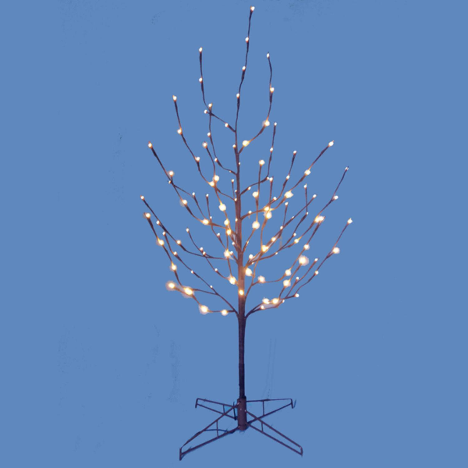 4' Lighted LED Brown Artificial Christmas Twig Tree - Pure White Lights