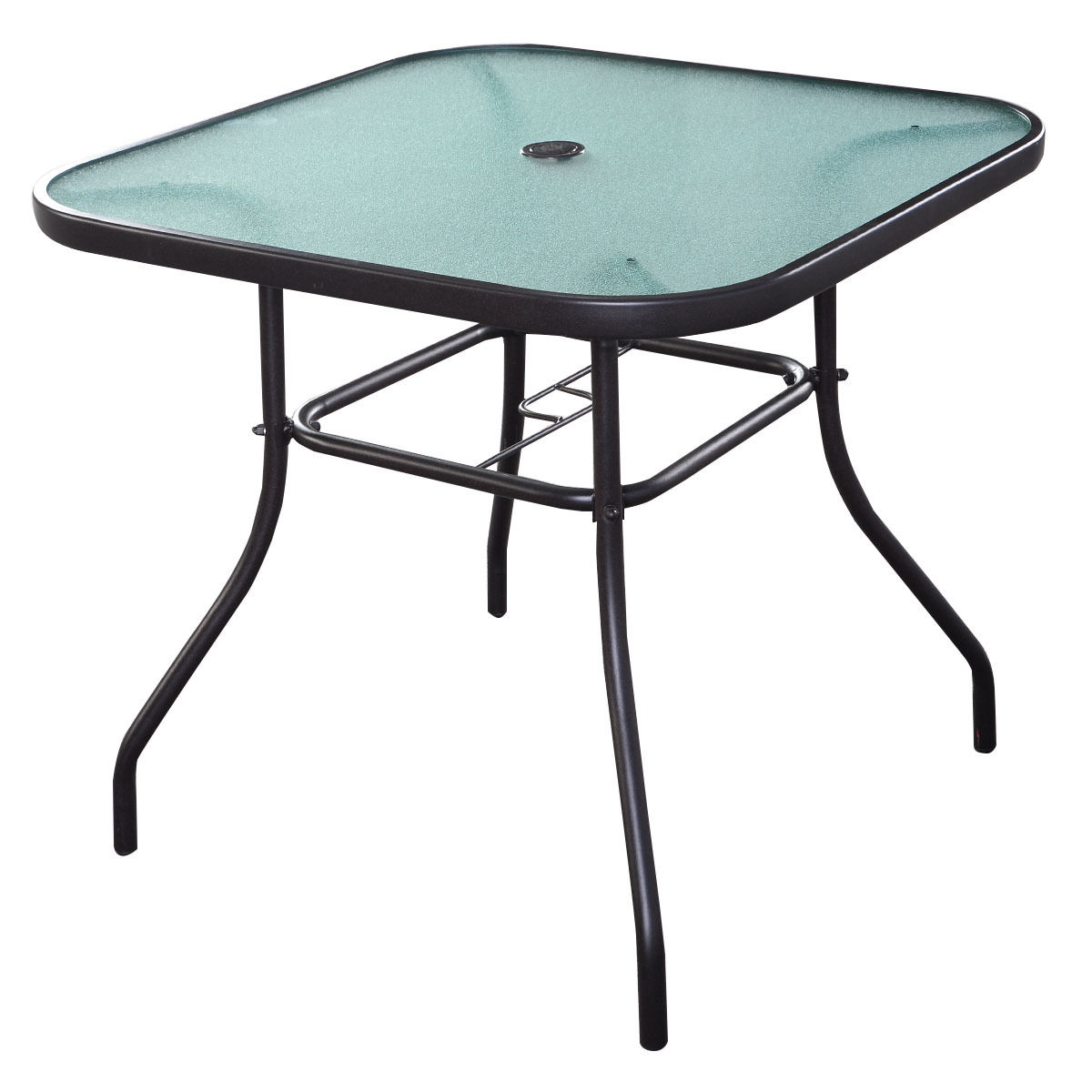 Costway 32 1/2'' Patio Square Bar Dining Table Glass Deck Outdoor Furniture Garden Pool