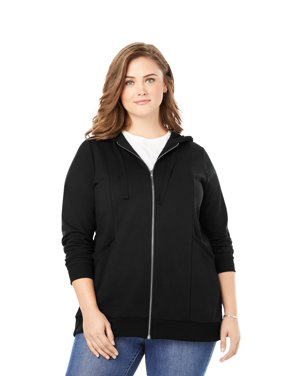 Woman Within Plus Size Zip Front Tunic Hoodie
