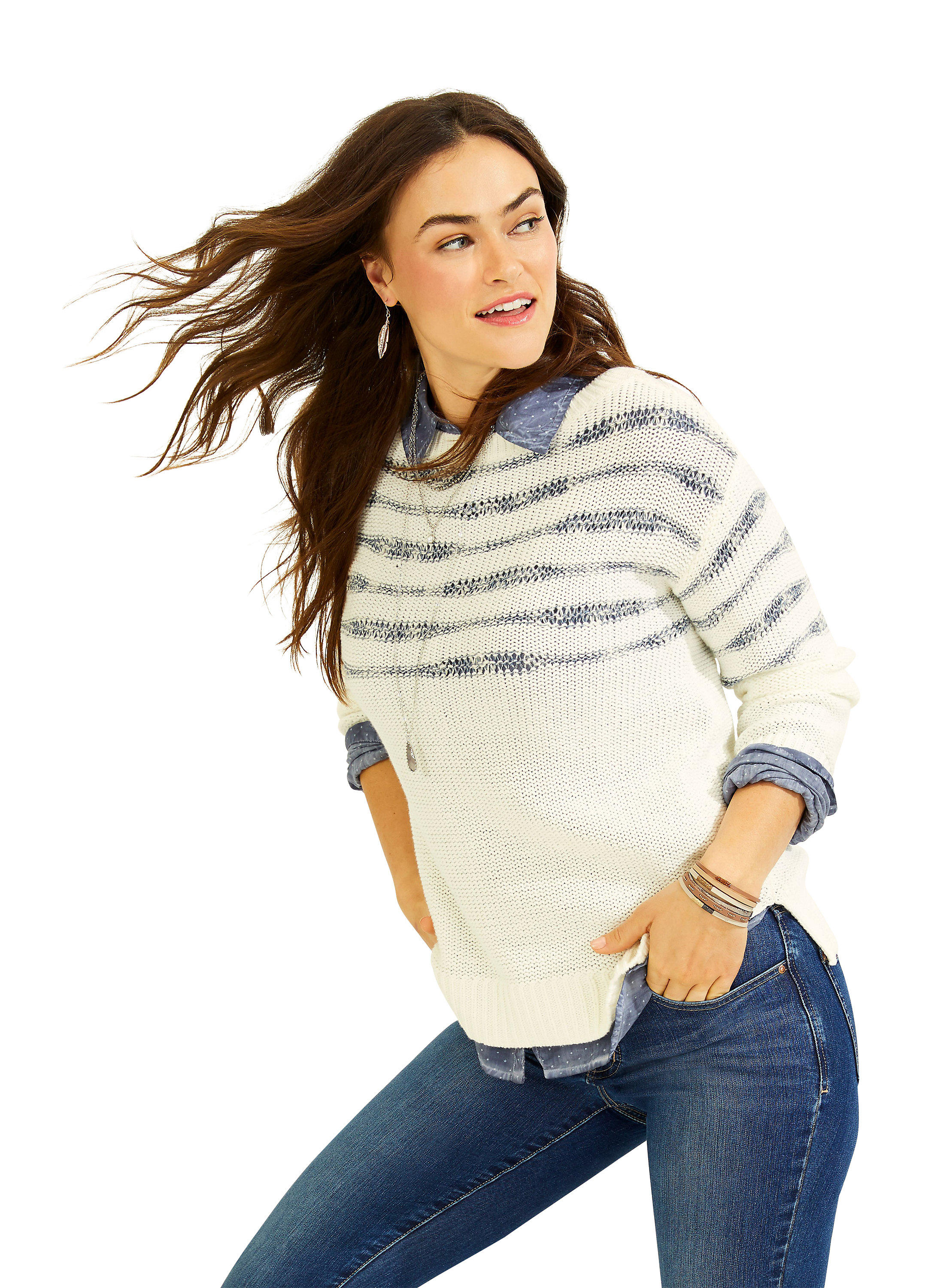 Wave Stripe Long Sleeve Pullover