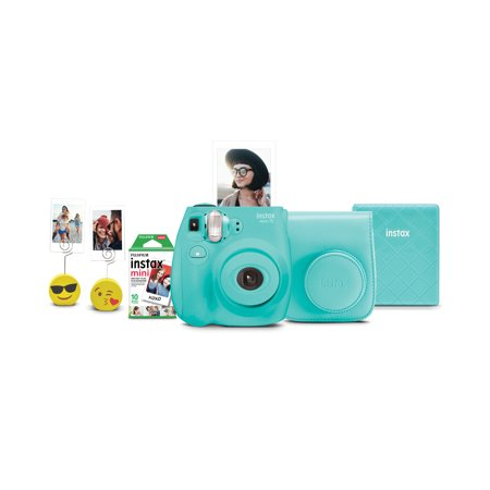 Fujifilm Instax Mini 7s Instant Camera w/ Matching Case, Film, Photo Album & Photo Holders - Seafoam Green