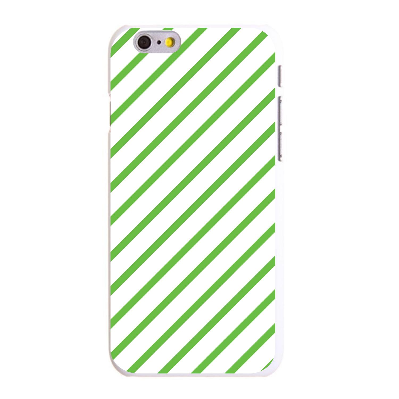 "CUSTOM White Hard Plastic Snap-On Case for Apple iPhone 6 PLUS / 6S PLUS (5.5"" Screen) - Green & White Diagonal Stripes"