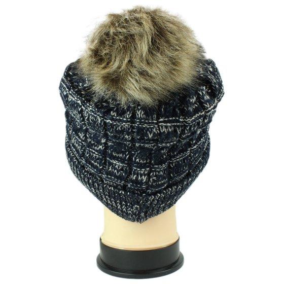 845176ec5df53d bogo Brands - bogo Brands Beanie Hat - Thick Knit Faux Fuzzy Fur Pom Pom  Fleece Lined Skull Cap - Walmart.com