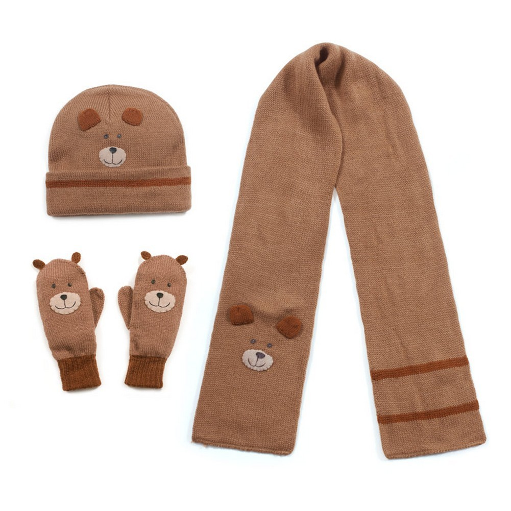Kidorable Boys Brown Bear Hat Scarf Gloves Handmade Winte...