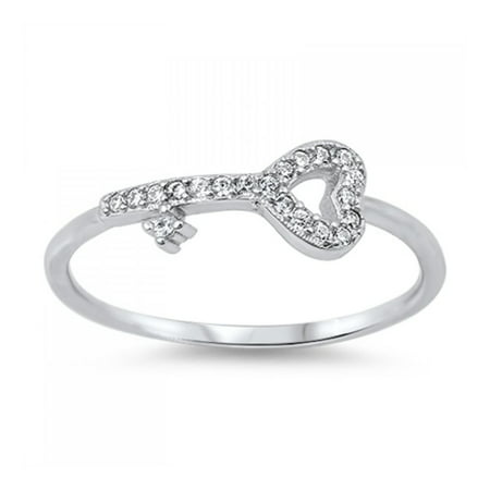 Key To My Heart Ring (925 Sterling Silver Cubic Zirconia Heart Shaped Key)