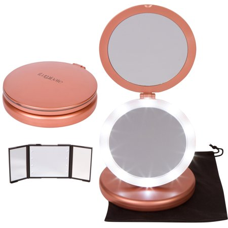 Iluminate Folding Makeup Mirror Lighted Vanity With Small Compact Gift 1x And 5x