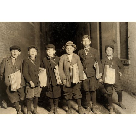 Stretched Canvas Art   Hine  Newsboy  1909   Na Group Of Newsboys At Work At Night In Newark  New Jersey  Photograph By Lewis Hine  December 1909    Large 24 X 36 Inch Wall Art Decor Size