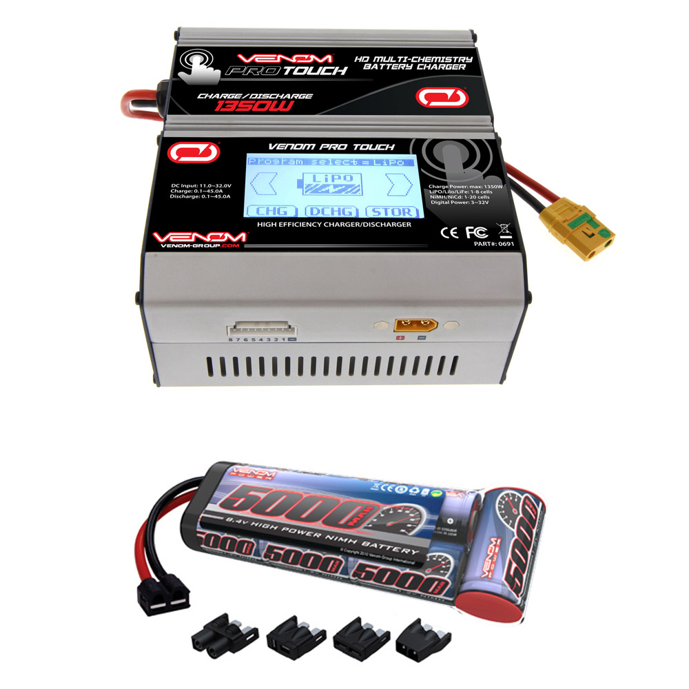 Venom 8.4V 5000mAh 7-Cell NiMH Battery Flat Pack with Universal Plug System and Venom Pro Touch Screen HD 45A RC LiPo/LiHV/NiMH Battery Charger Combo