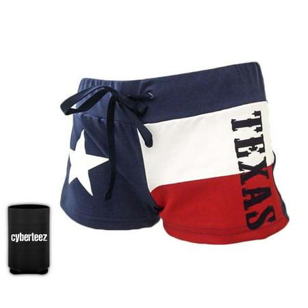 Texas Flag Women's Drawstring Cover Up Beach Booty Running Shorts + Coolie (Womens American Flag Running Shorts)