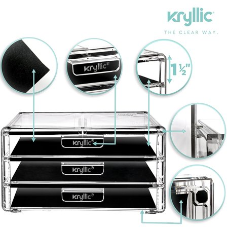 Kryllic Acrylic Makeup Jewelry Cosmetic Organizer - Clear Acrylic Display Storage for Jewelry Makeup Pallets & all Bathroom Accessories keep your Vanity & Dresser Organized with set of 3 Drawers - image 2 of 6