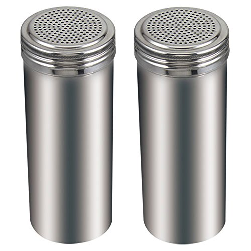 (Pack of 2) 22 Oz. Stainless Steel Dredge Salt / Sugar / Spice / Pepper Shaker