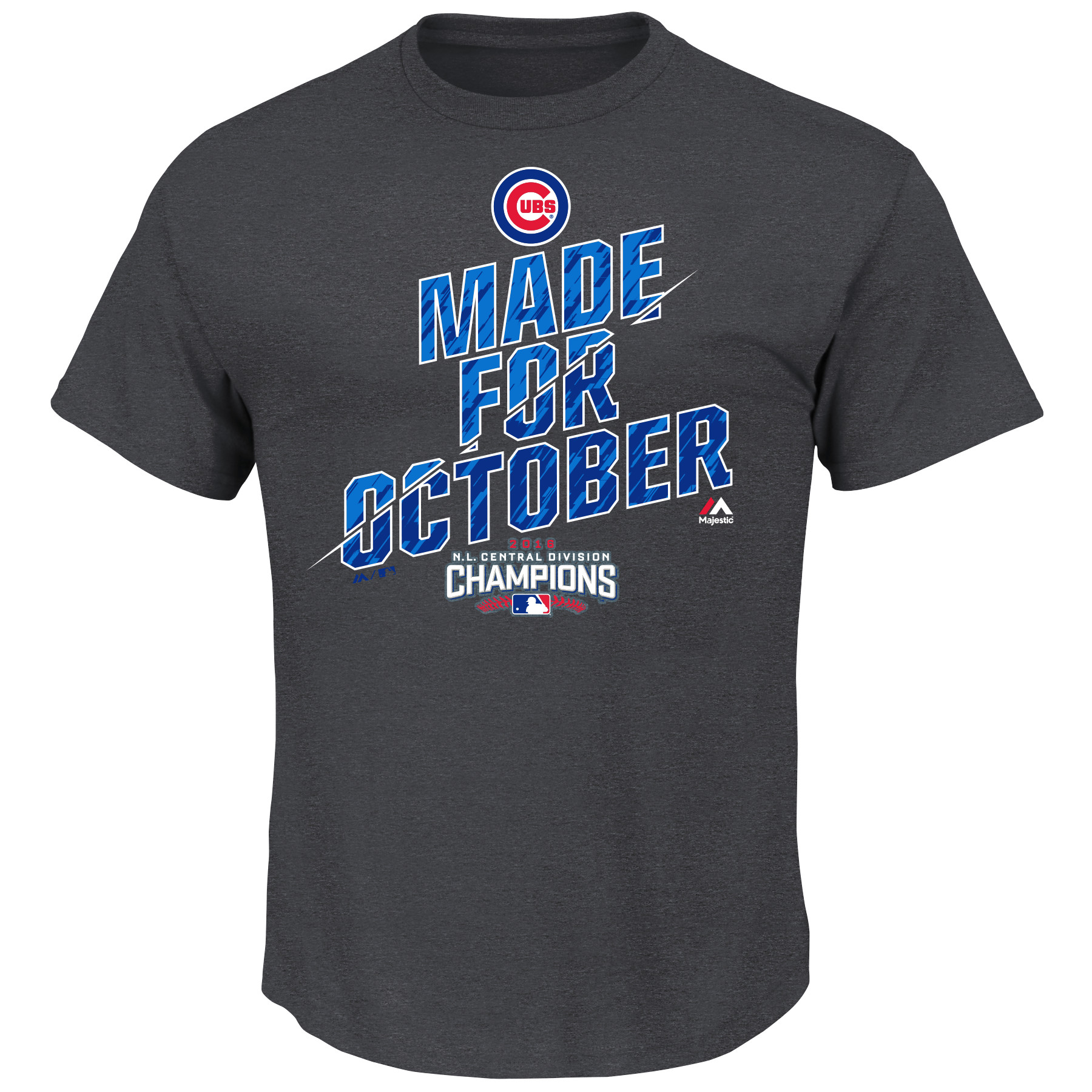 Chicago Cubs Majestic 2016 NL Central Division Champions Made for October Locker Room T-Shirt - Charcoal