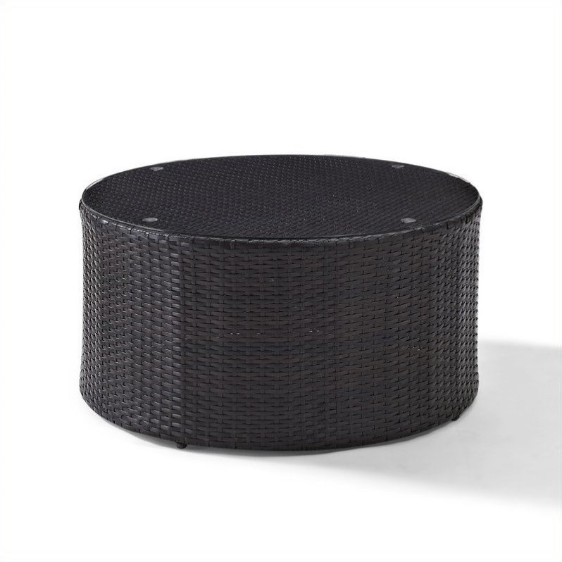 Pemberly Row Outdoor Wicker Round Glass Top Coffee Table by Pemberly Row