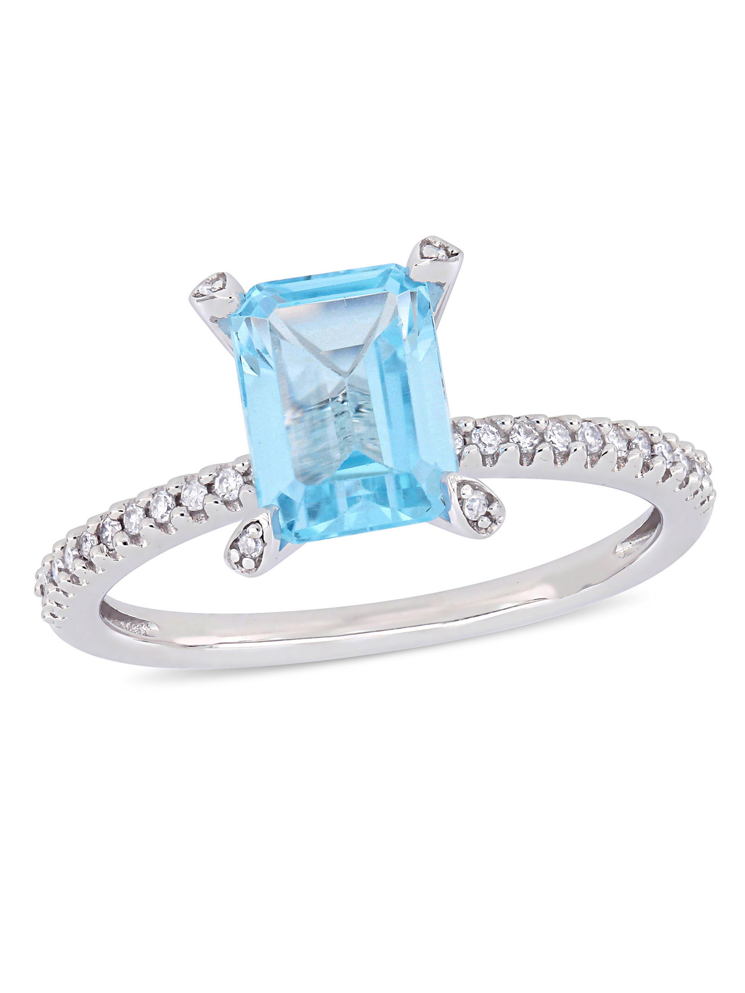 Tangelo 2 Carat T.G.W. Sky-Blue Topaz and 1/10 Carat T.W. Diamond 10kt White Gold Engagement Ring
