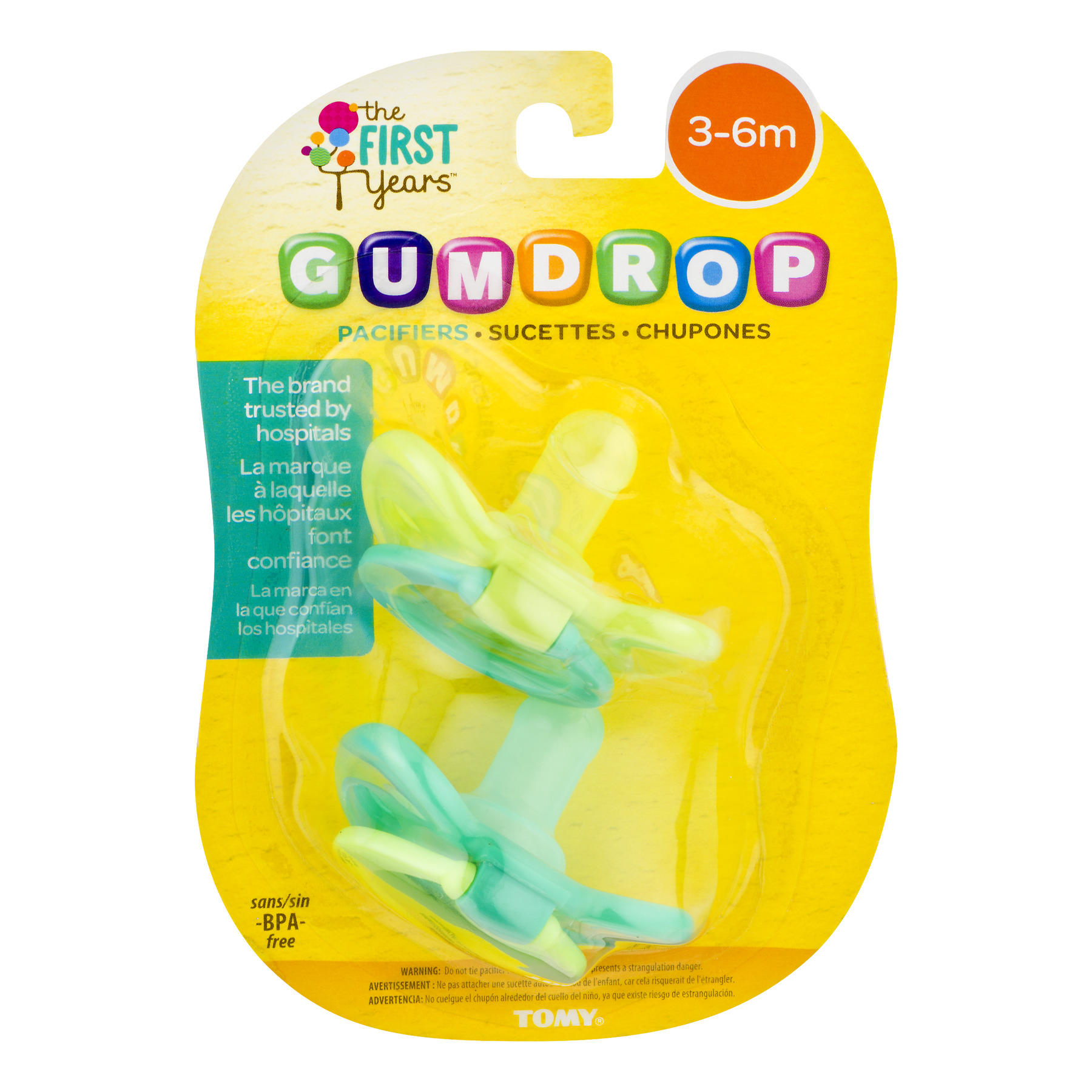 The First Years Gumdrop Pacifiers, 3-6 Months - 2 Counts